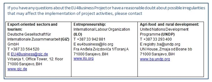 EU4Business Project – Cautionary Notice